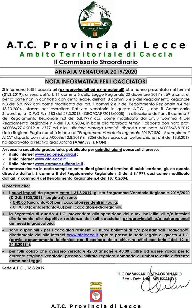 Calendario Venatorio Puglia Ultime Notizie.A T C Provincia Di Lecce Ambito Territoriale Di Caccia Home